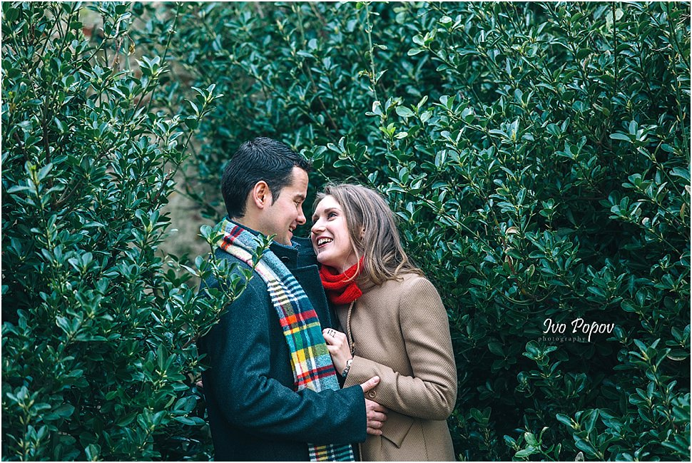 Couple during engagement session in Bruges