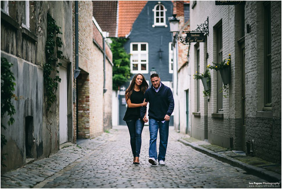young couple during engagement session in Bruges