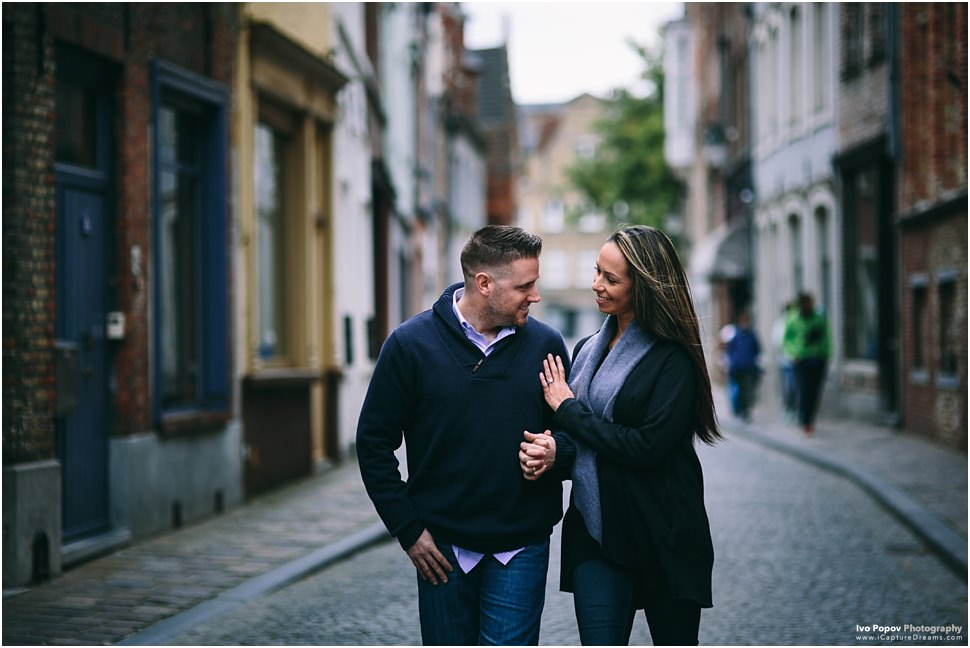 tender moment between a couple in Bruges