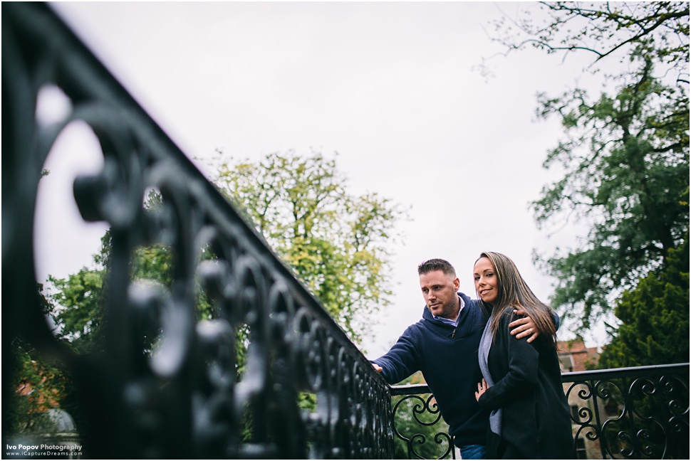 engaged couple during photo session in Bruges