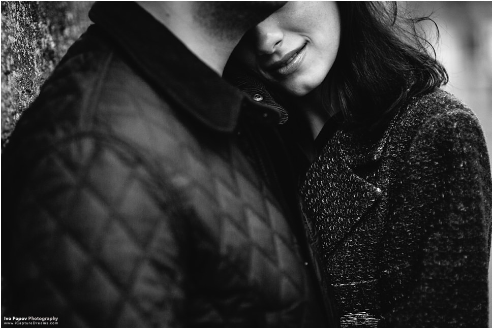Romantic creative engagement photo session in Bruges