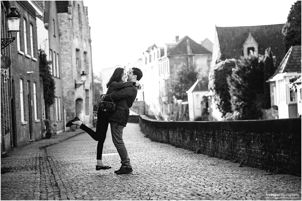 Creative photos on Romantic small street in Bruges