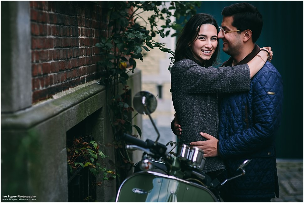 Engagement photos with Vespa in Bruges