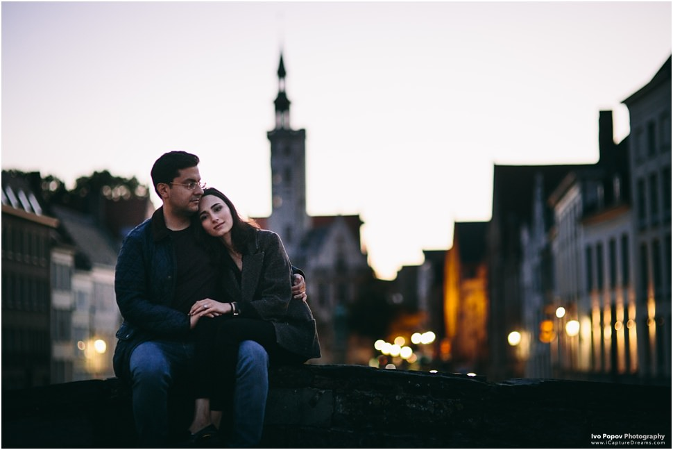 Sunset couple session in Bruges