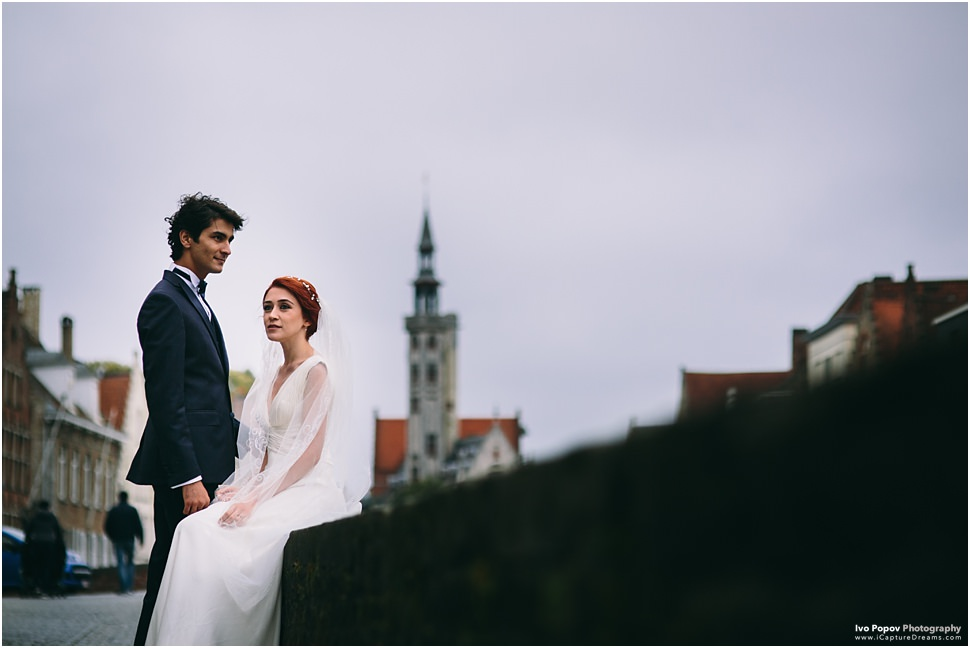 Sunset images from wedding in Bruges