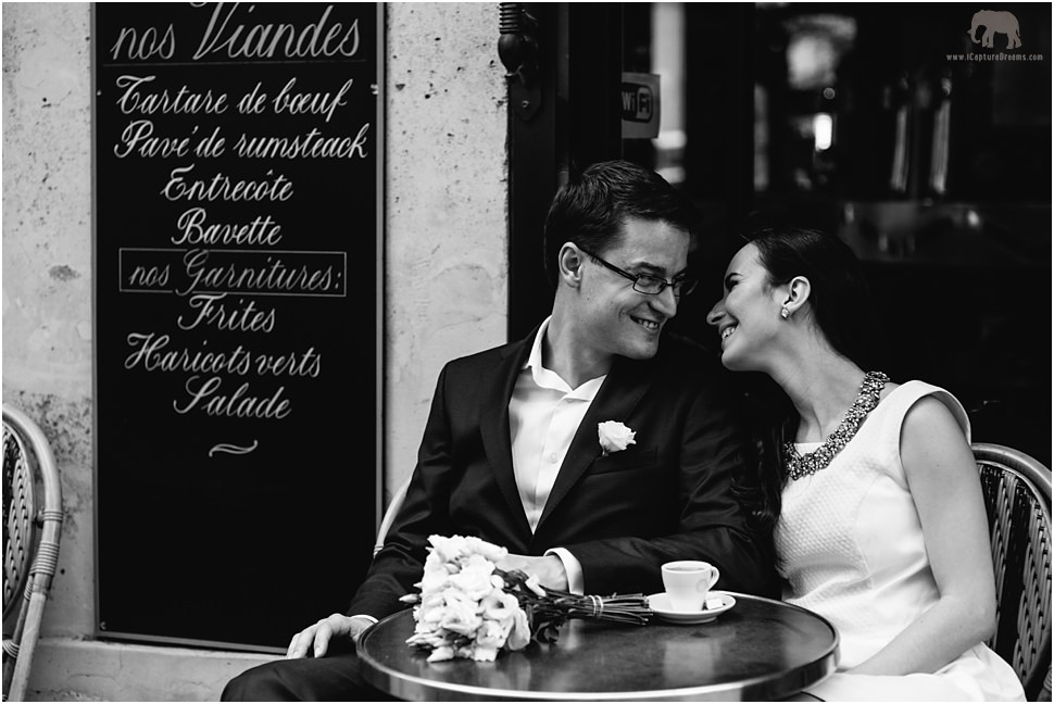 Romantic images in a typical French cafe in Paris