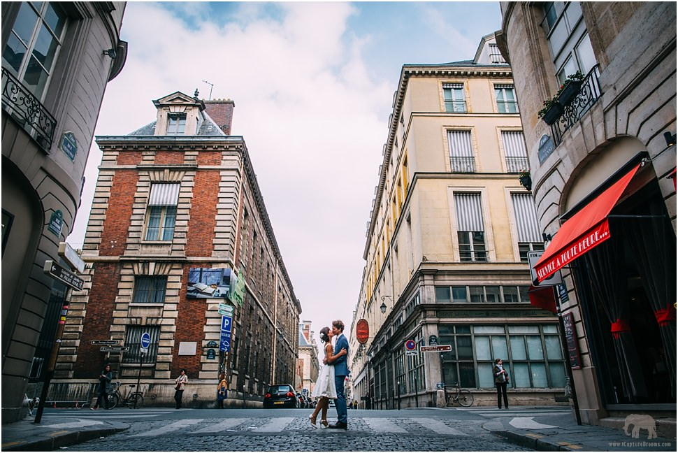 Beautiful couple kissing romantically in Paris