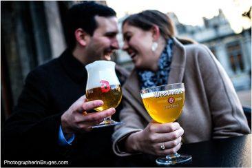 Romantic wedding proposal in Bruges