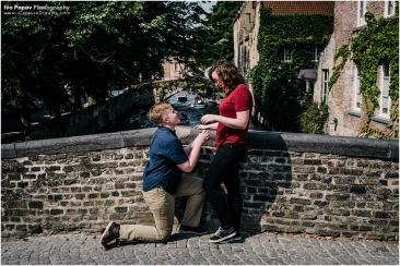 Surprise wedding proposal in Bruges