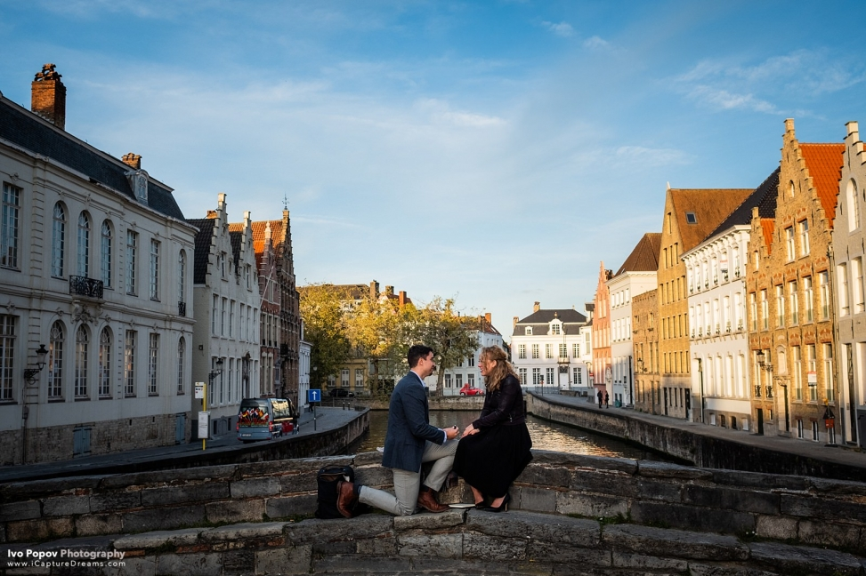 Sunset marriage proposal and after dark photo session in Bruges