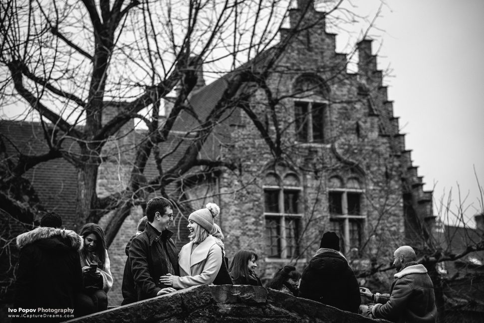 Christmas wedding proposal in Bruges
