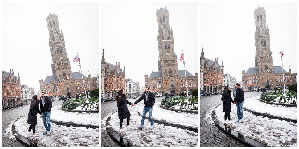 Happy couple engagement session in Bruges