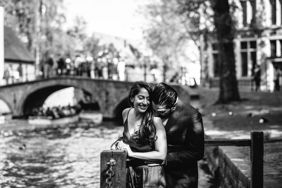 Wedding proposal at Minnewater Lake Bruges