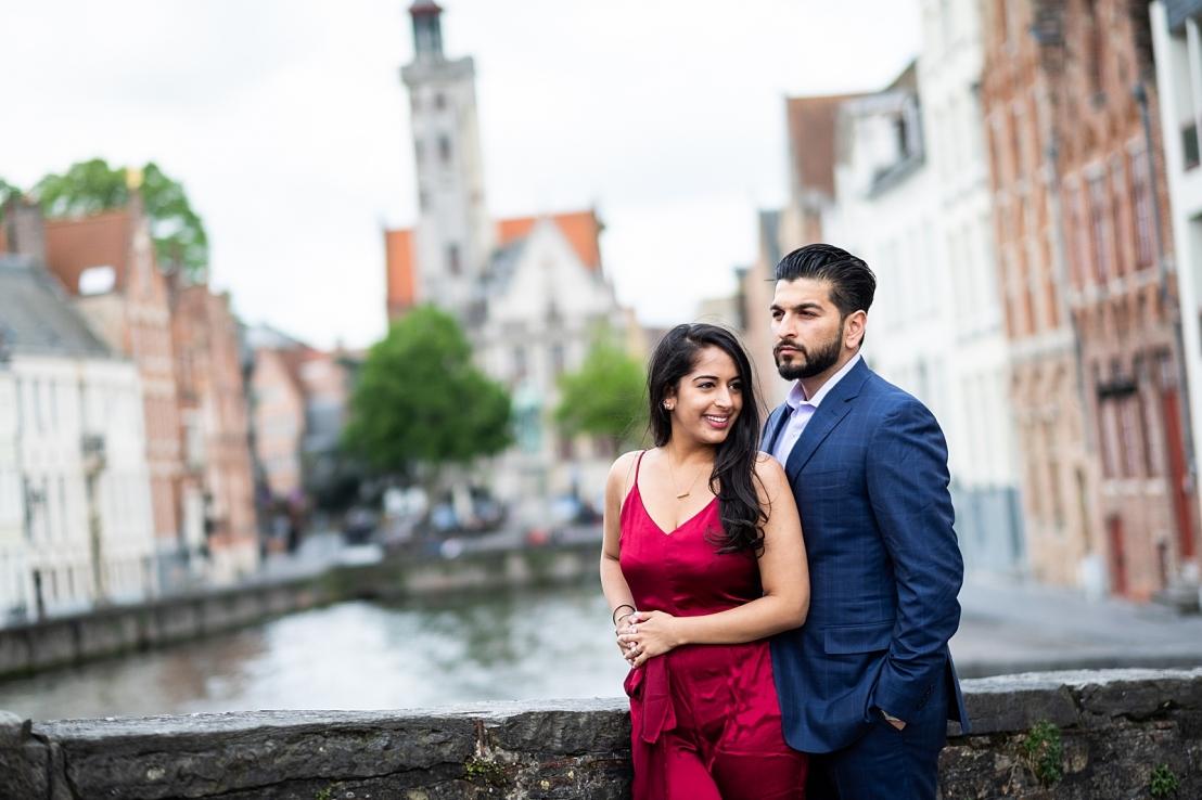 Wedding proposal at Minnewater Lake Bruges
