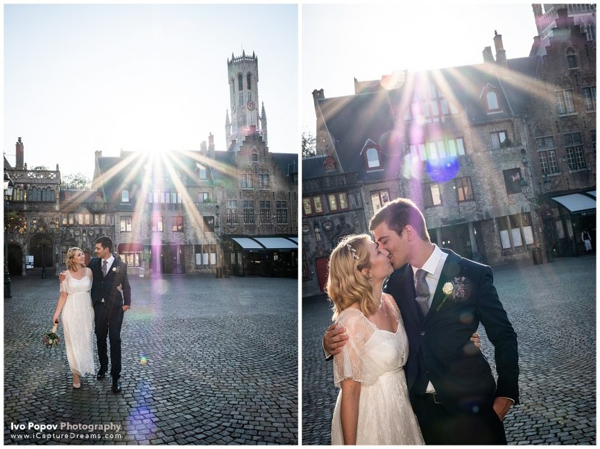 Romantic engagement photo session in Bruges in September during Covid-19
