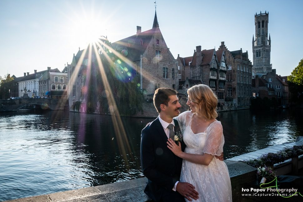Sunset romantic wedding photo shoot in Bruges